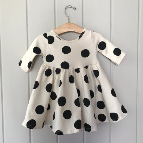Black Dot Three Quarter Sleeve Twirly Dress