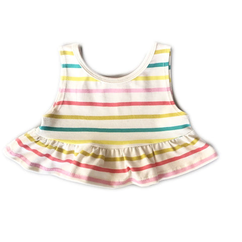 Fruit Stripe Crop Peplum Tank