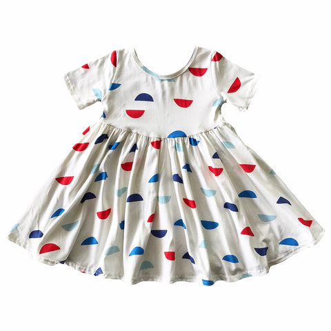 Glory Half Moon Short Sleeve Twirly Dress