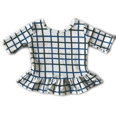 Grid in Pine and Blue Spruce Three Quarter Sleeve Peplum Top