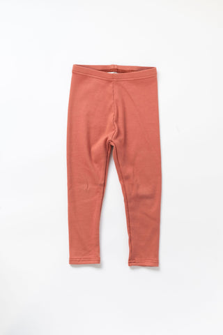 Terra Cotta Organic Rib Knit Leggings