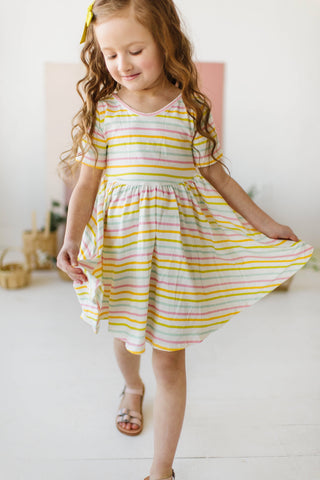 Sunset Stripes Short Sleeve Twirly Dress