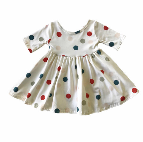 Tinsel Dot Three Quarter Sleeve Twirly Dress