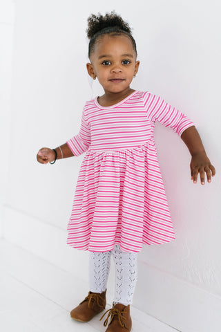 Sweetheart Stripe Three Quarter Sleeve Twirly Dress