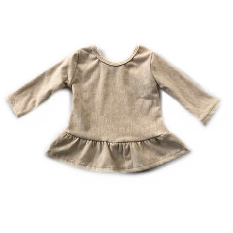 Heathered Almond Fleece Peplum Top
