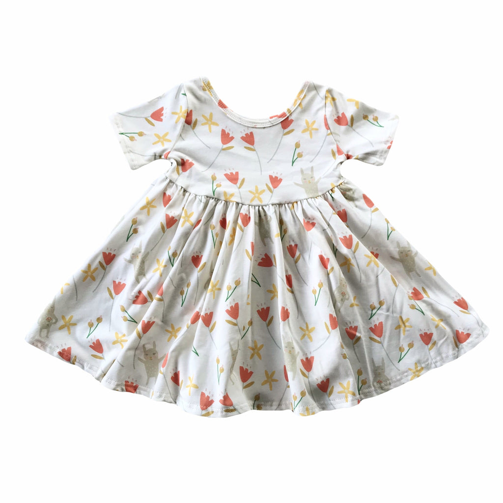 Tulip Bunny Floral Short Sleeve Twirly Dress