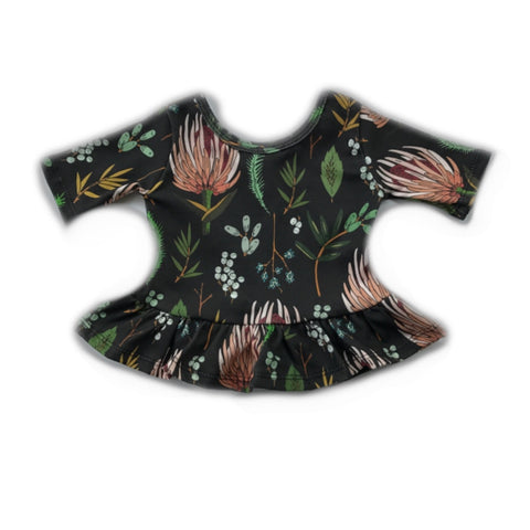 Black Protea Three Quarter Sleeve Peplum Top