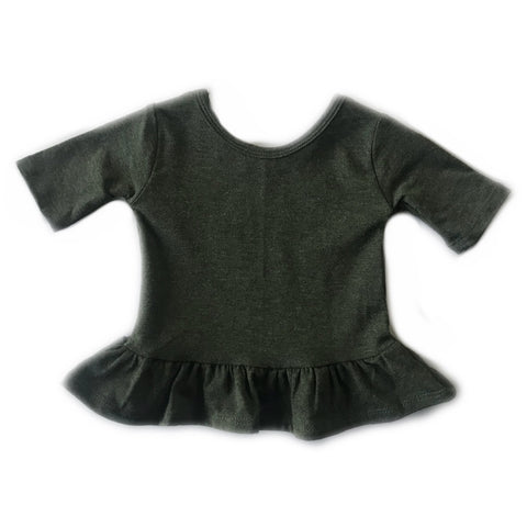 Heathered Forest Three Quarter Sleeve Peplum Top