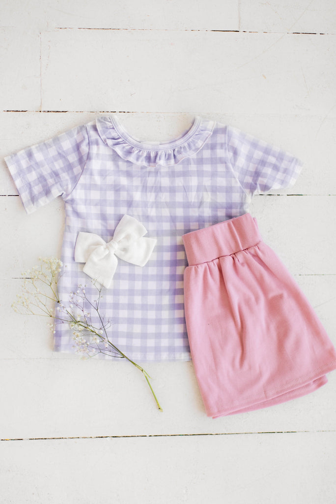 Purple Heather Gingham Ruffle Front Tee