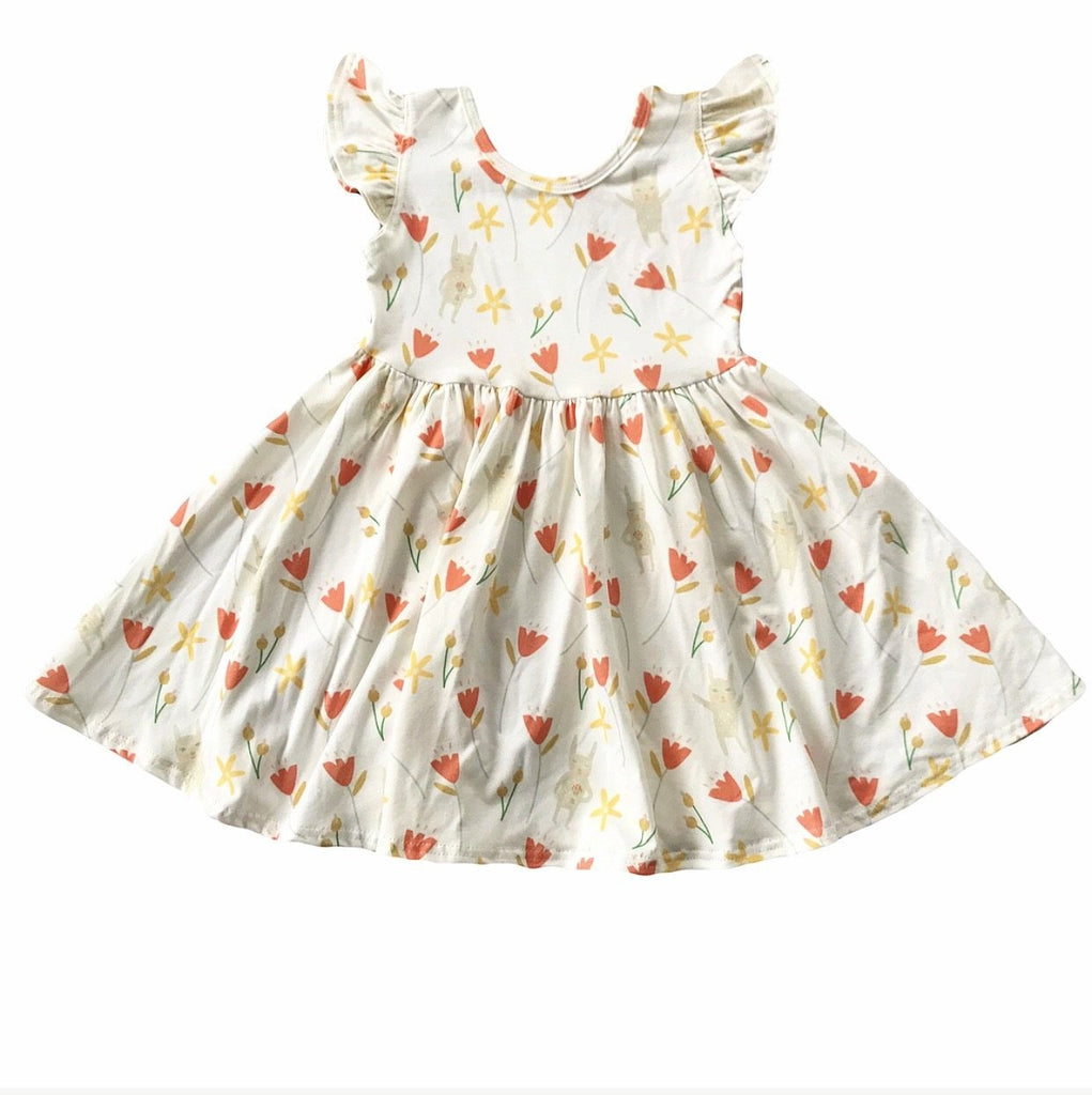 Tulip Bunny Floral Flutter Sleeve Twirly Dress