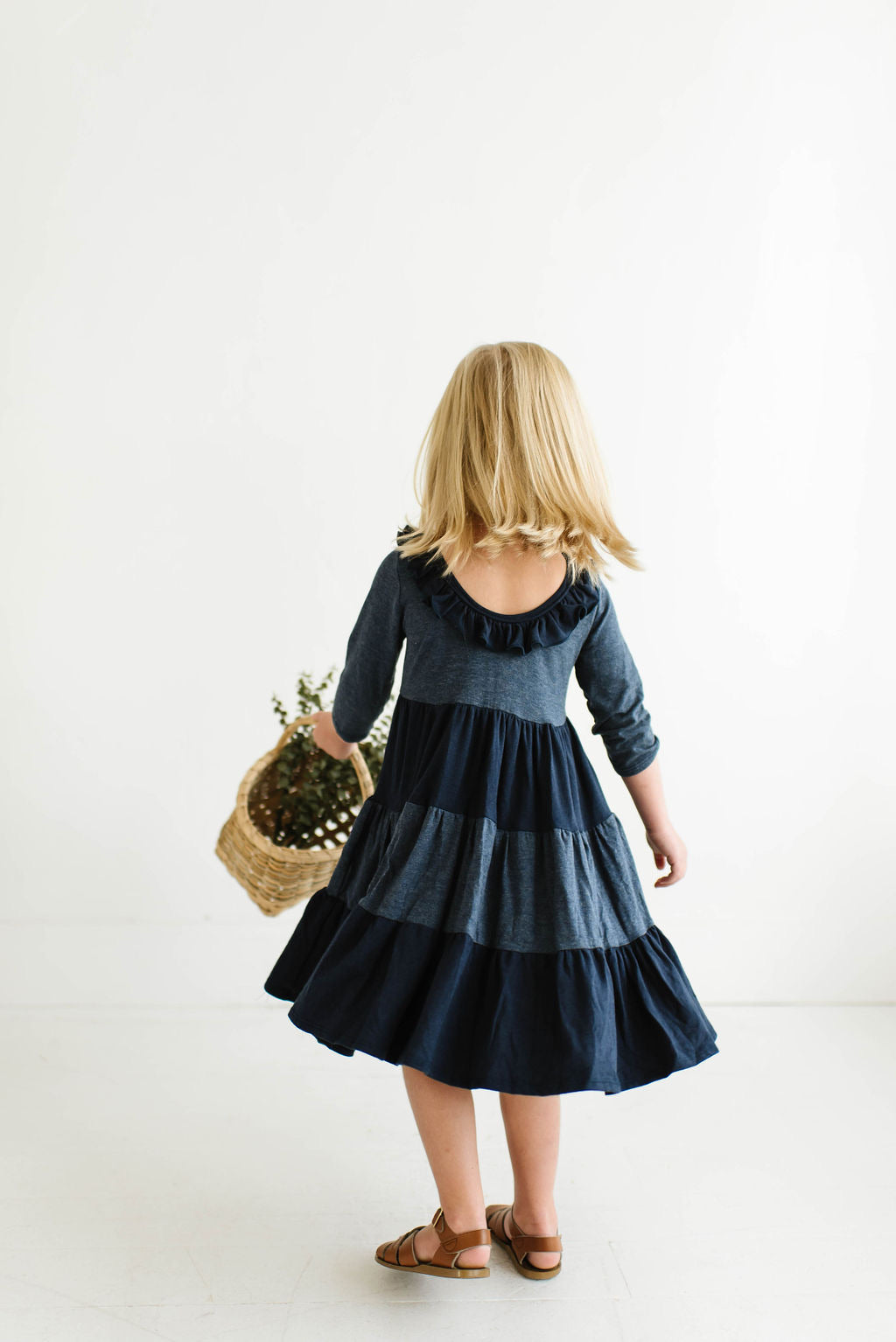 Colorblock Midnight Three Quarter Sleeve Tiered Twirly Dress