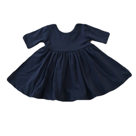 Midnight Blue Three Quarter Sleeve Twirly Dress