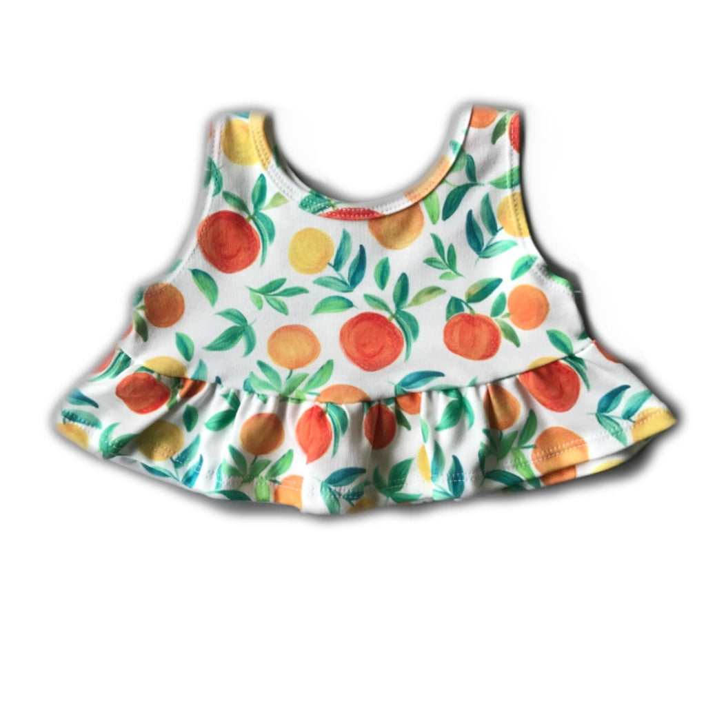 Orange Citrus Crop Peplum Tank