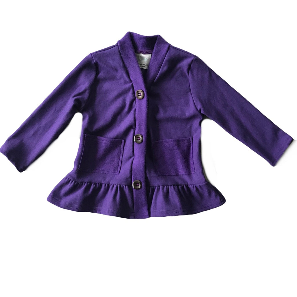Eggplant Fleece Peplum Cardigan