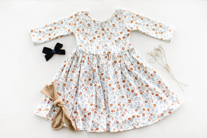 Sienna Floral Three Quarter Sleeve Twirly Dress