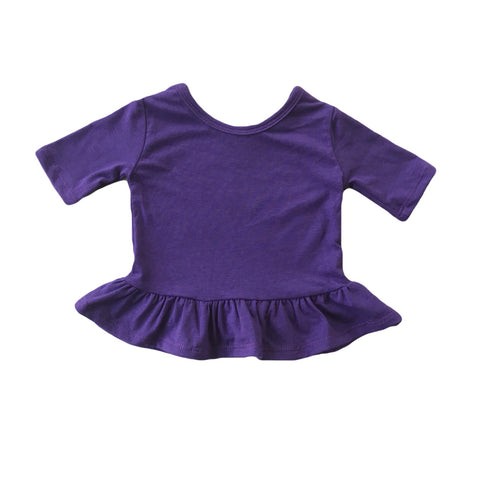 Eggplant Three Quarter Sleeve Peplum Top