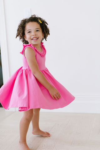 Ruffle Scoop Back Tank Twirly Dress in Aurora Pink