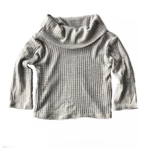 Grey Waffle Knit Cowl Neck Top