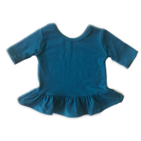 Blue Spruce Three Quarter Sleeve Peplum Top