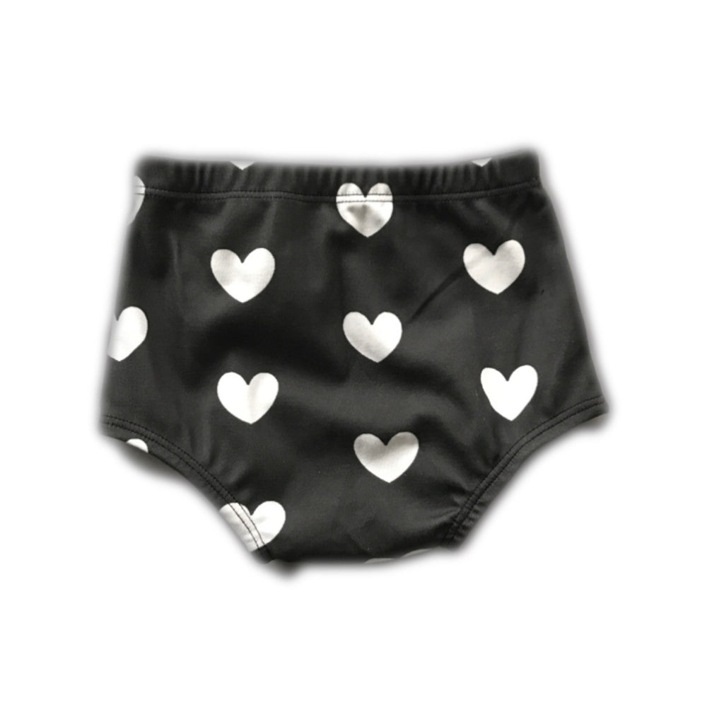 Black with White Heart Bloomers