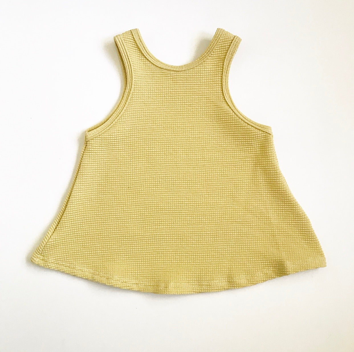 A Line Tank in Citron Waffle Knit