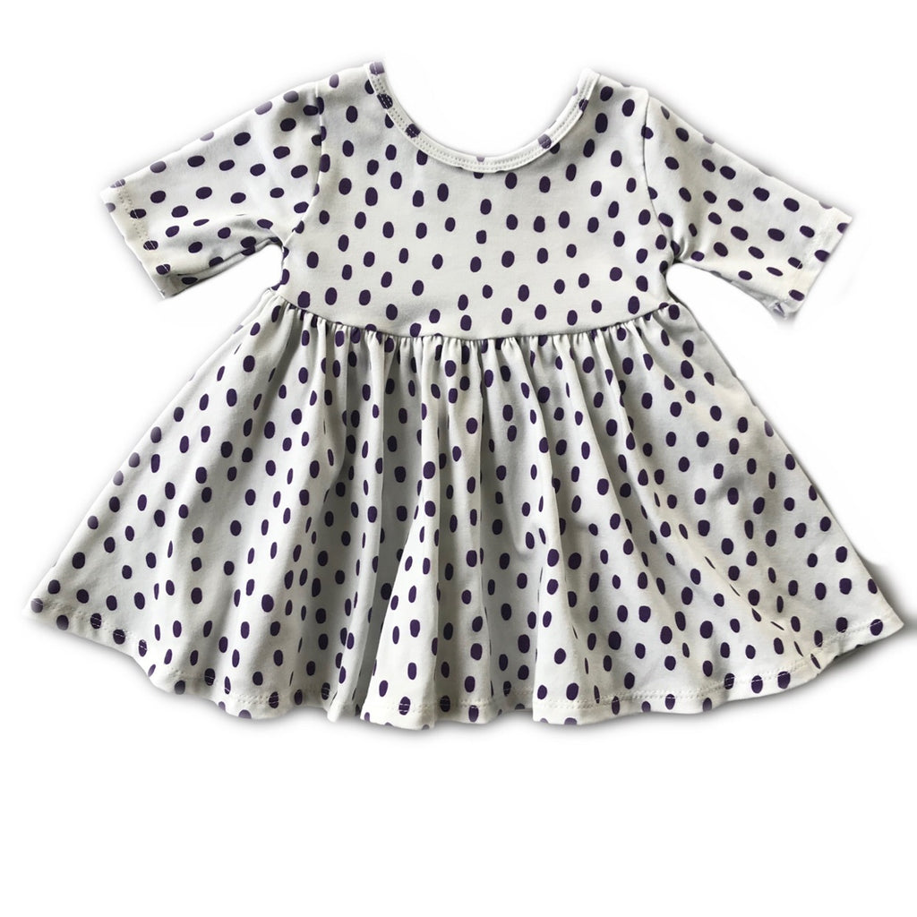 Eggplant Dot Three Quarter Sleeve Twirly Dress