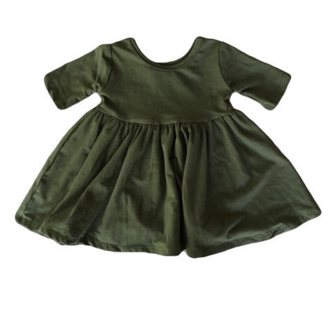 Moss Three Quarter Sleeve Twirly Dress