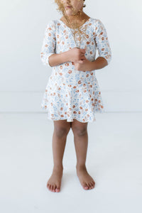 Sienna Floral Three Quarter Sleeve Bamboo Leotard