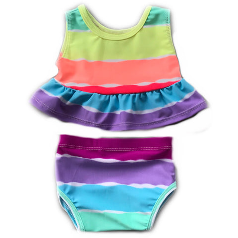 Neon Stripe (colors will vary) Peplum Bathing Suit