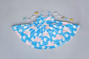 Flying Flock in Azure Blue Twirly Dress