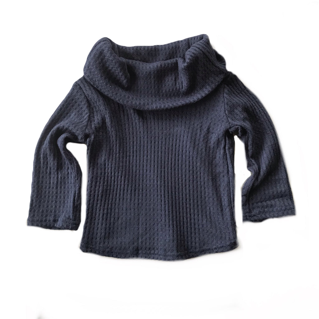 Navy Waffle Knit Cowl Neck Top