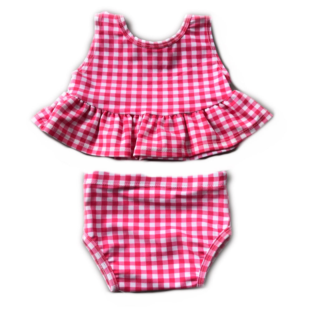 Pink Gingham Peplum Bathing Suit