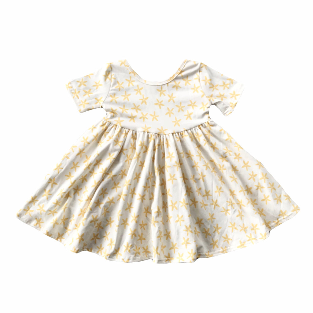 Golden Daisy Short Sleeve Twirly Dress