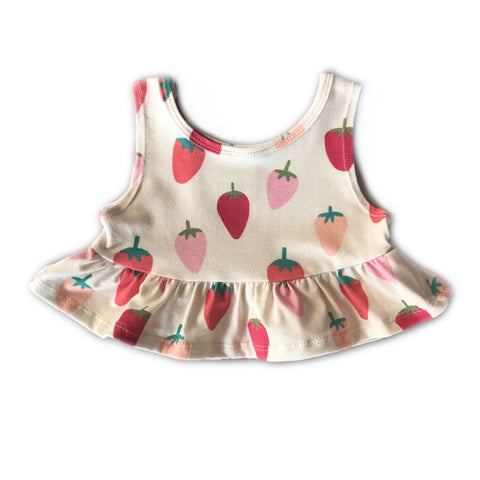 Wild Strawberry Crop Peplum Tank