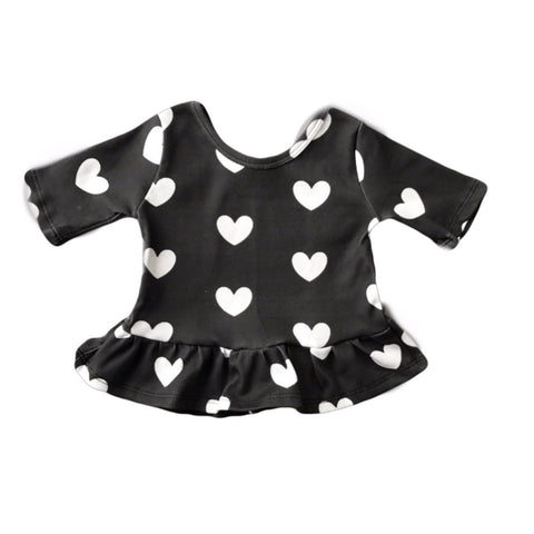 Black with White Hearts Three Quarter Sleeve Peplum Top