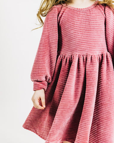 Mauve Stretch Corduroy Puff Sleeve Twirly Dress