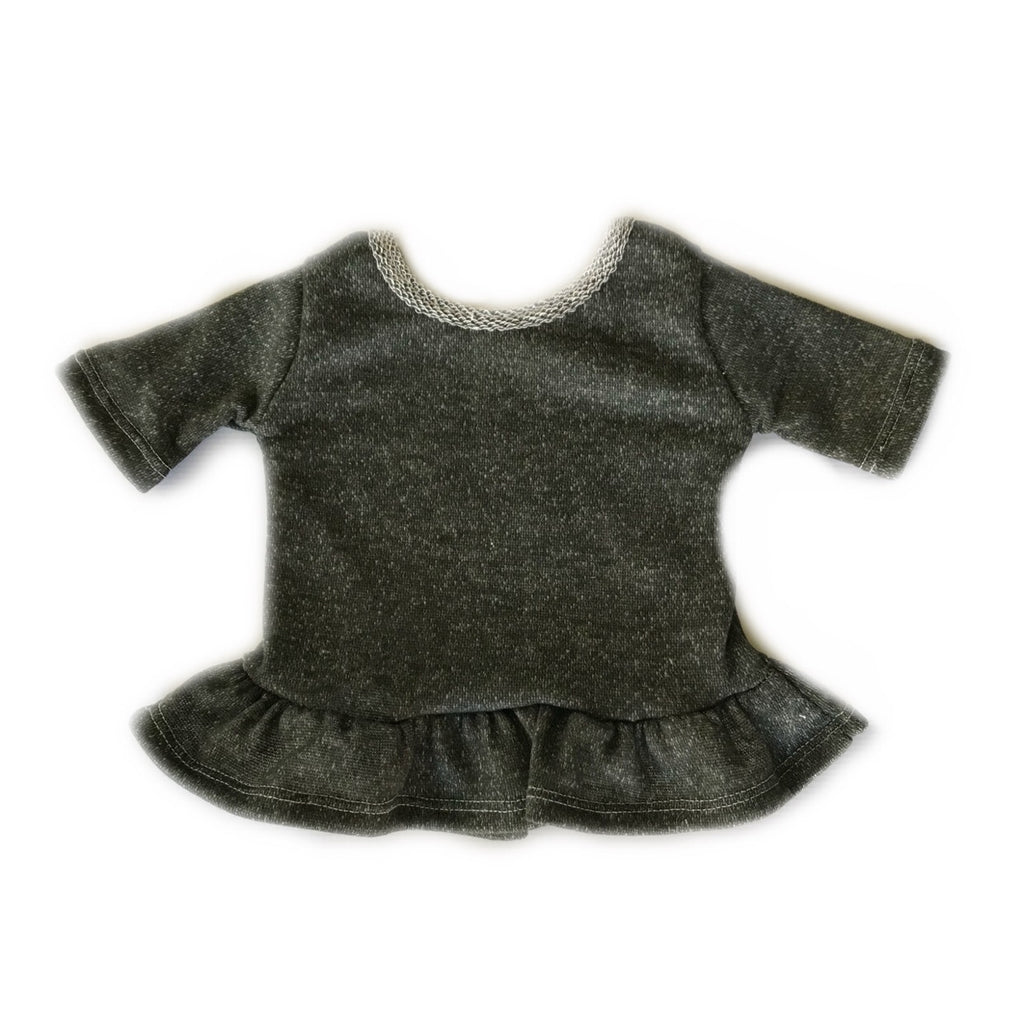 Olive French Terry Three Quarter Sleeve Peplum Top