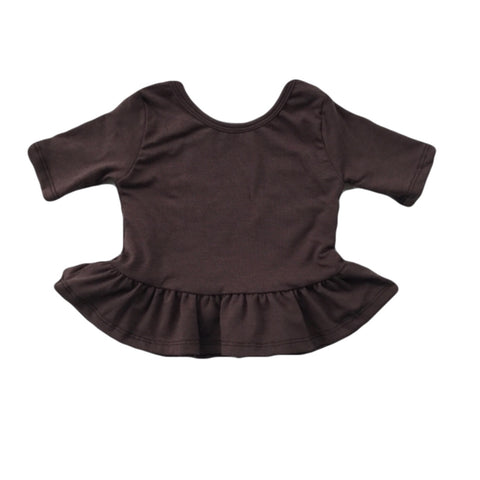 Espresso Three Quarter Sleeve Peplum Top