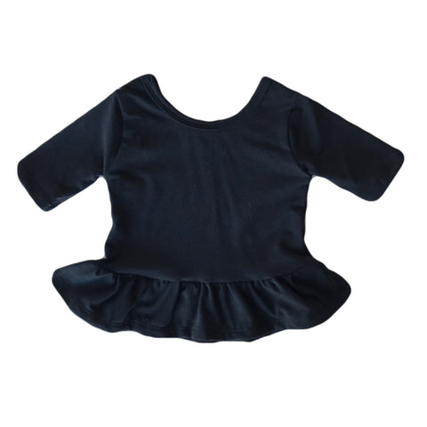 Black Three Quarter Sleeve Peplum Top