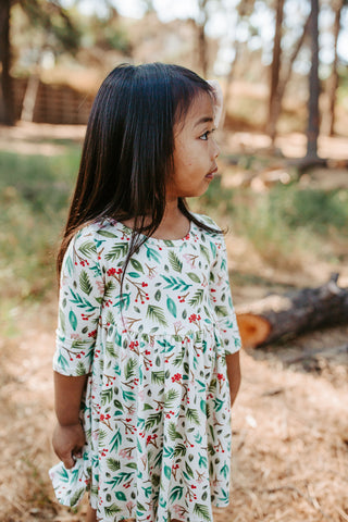 Leaves and Berries Three Quarter Sleeve Twirly Dress (Last One)