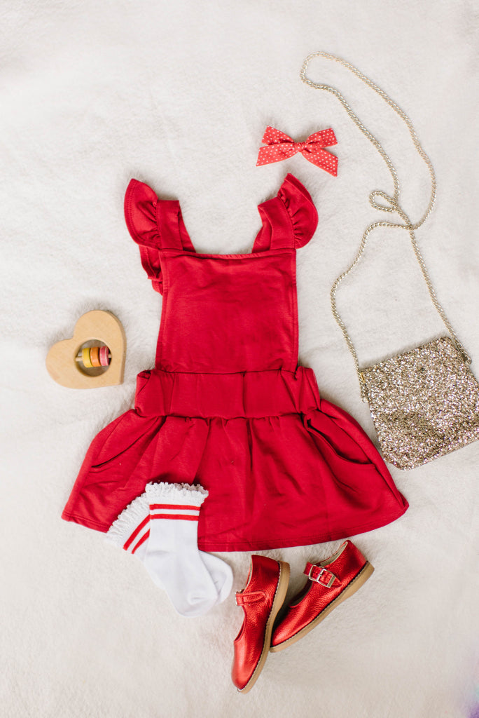 Ruffle Strap Pocket Pinafore in Cherry