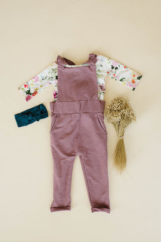 Ruffle Strap Pocket Overall in Heathered Rosewood