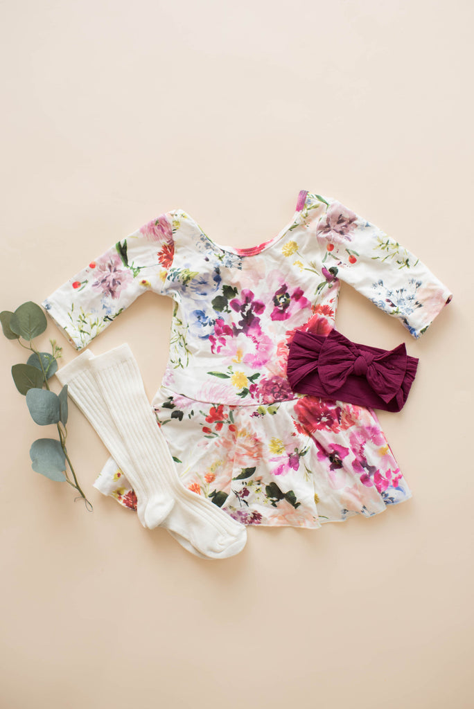 Watercolor Wildflower Bamboo Skirted Leotard
