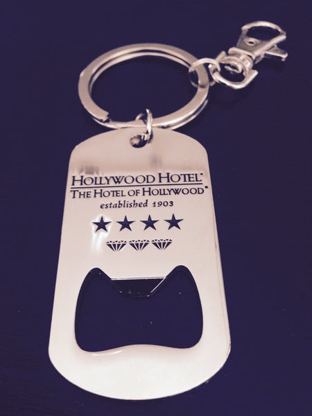 Hollywood Hotel - The Hotel of Hollywood ®  - Chrome Bottle Opener Key Chain