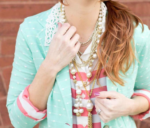 CS Gems vintage tassel necklace, kohls blazer and top