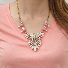 Pink and Rhinestone Statement Necklace cs gems vintage jewelry
