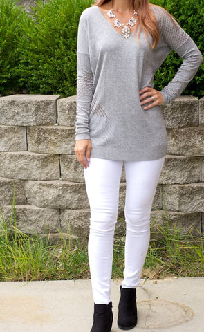Marl Open Stitch Tunic Sweater from Express and CS Gems Statement Necklace