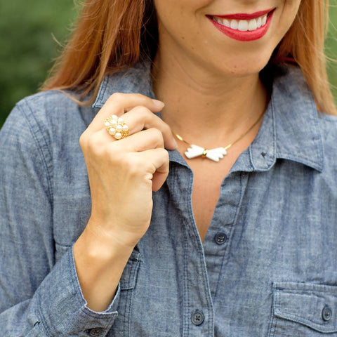 CS Gems vintage dainty bow necklace and faux pearl ring