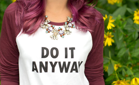 do it anyway H&M t-shirt cs gems statement necklace