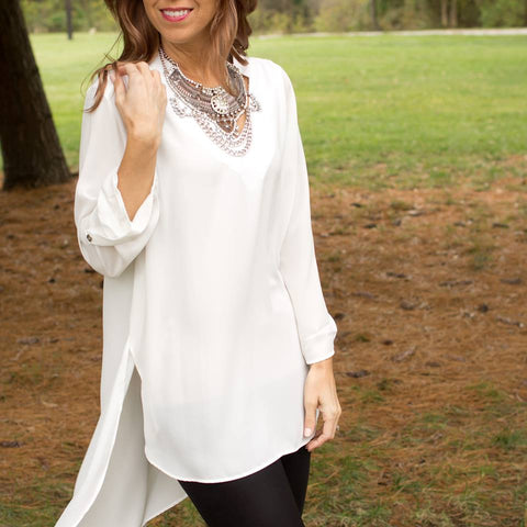 cs gems ivory high low chiffon blouse